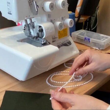 Juki overlokiga pärlite õmblemine